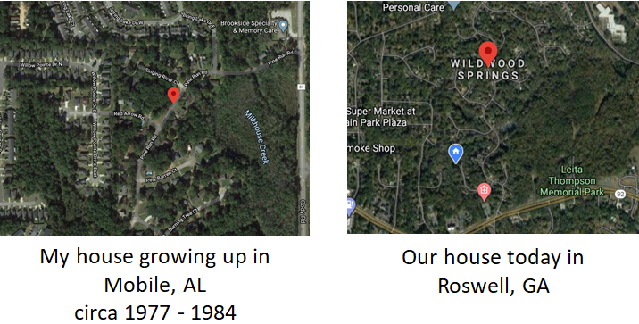 Aerial overhead of Mobile, AL and Roswell, GA